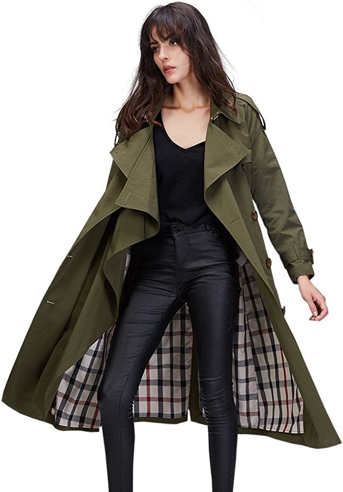 Melody Womens Elegant Jacket Double Breasted Long Trench Coat With Belt