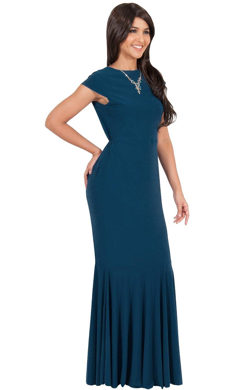 3aef2b545cd90 Amazon.com: KOH KOH Womens Long Cap Sleeve Elegant Formal Sexy Evening  Cocktail Maxi Dress: Clothing