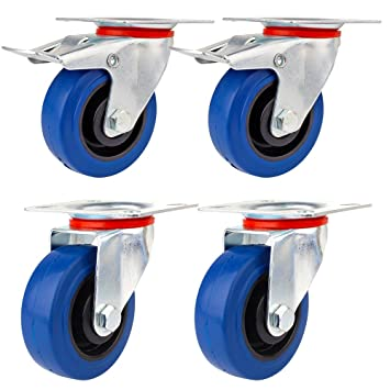 YAOBLUESEA Ruedas de Transporte de transporte Ruedas cargas pesadas rollos de muebles Elástico de goma azul ...