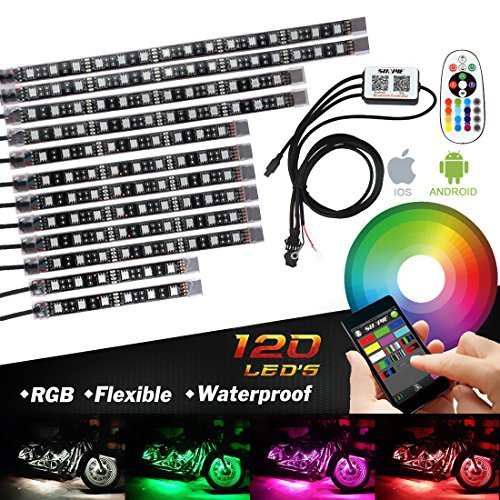 (Bluetooth Golf Cart Underbody Glow LED Lighting Kit Multi-Color Accent Glow Neon Lights Car Motorcycle LED Light Kit)
