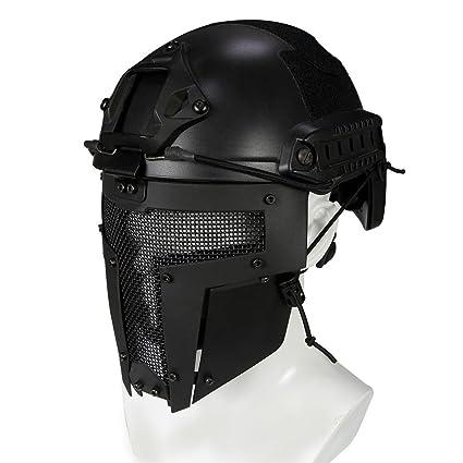 Waroomss Máscara facial táctica protectora Airsoft Máscara casco para casco de guerra militar al aire libre