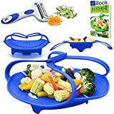 "PREMIUM Silicone Vegetable Steamer Basket - Blue - 8"" - Kitchen Bundle - Heat Resistant Silicon - BONUS Food eBook + 3 in 1 Julienne Veg Peeler"