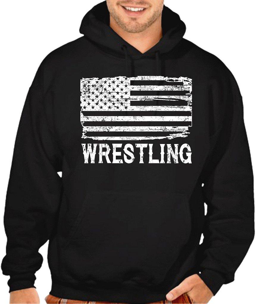 Interstate Apparel Men's Wrestling American Flag Black Pullover Hoodie Sweater X-Large Black by Interstate Apparel