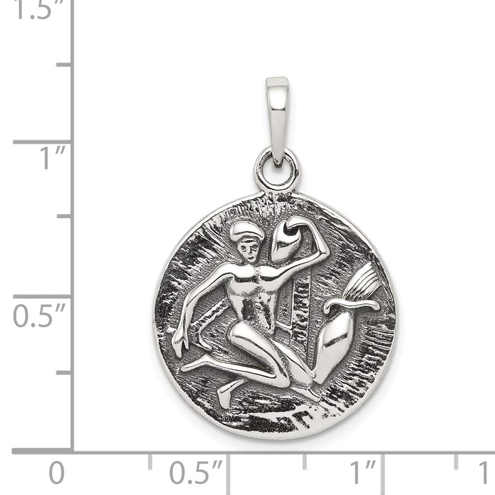 925 Sterling Silver Polished Antique Finish Aquarius Horoscope Shaped Pendant