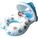 niceEshop Multifonctionnel 3 en 1 Anneau de Natation Gonflable avec Pare-soleil pour Bébé et Parents (Blanc)
