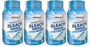 Cleanex Bleach Tablets, New Advanced Formula Ultra Concentrated Water-Soluble Bleach Tablets for Laundry and Multipurpose Cleaning 36 Tablets No Phosphate NO More Liquid Bleach! (Original 4 Packs)