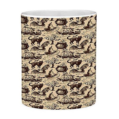 Funny Coffee Mug with Quote Vintage Halloween 11 Ounces Funny Coffee Mug Symbols of Halloween Witch Hat Cauldron Fall Jack o Lantern Black Cat Decorative Light Brown ()