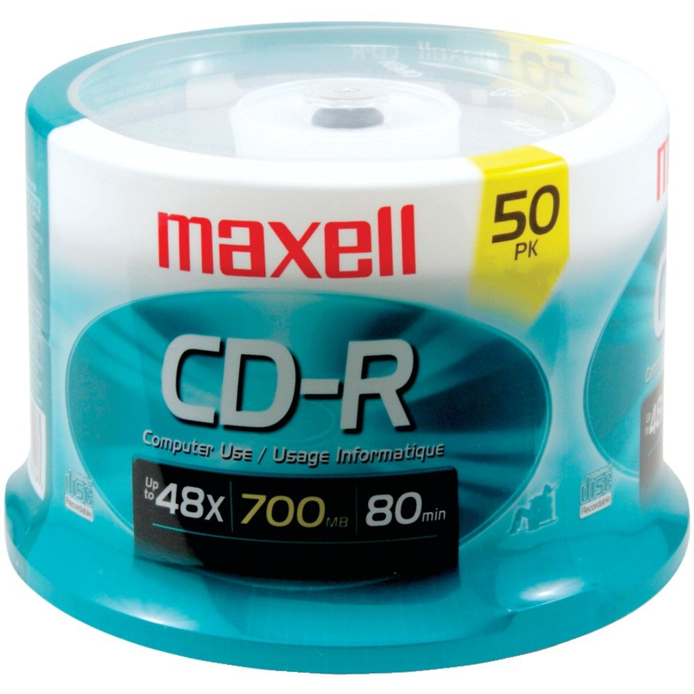 Maxell 48x Write-Once CD-R Spindle For Data - 50 Disc Spindle 648250