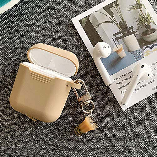 UR Sunshine AirPods Case, Creative Candy Color Soft TPU Silicone Case Cover Protective Skin for AirPods with Drink Milk Tea Bottle Decoration Pendant Keychain-Khaki