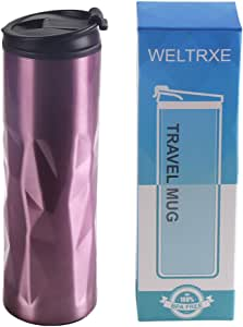 WELTRXE 15oz Insulated Stainless Steel Travel Mug Sweat Free Tumbler with Anti-Split Lid,Double Wall Coffee Mug with Leak-Proof Coffee Cup for Home Office Outdoors