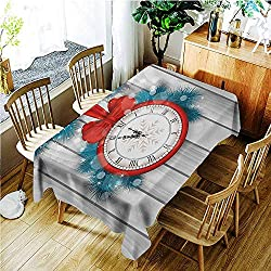 TT.HOME Elastic Tablecloth Rectangular,Clock New Year Celebration Midnight A Clock and Fir Pine Tree Branch Illustration,Table Cover for Kitchen Dinning Tabletop Decoratio,W50x80L,Red and Pale Grey