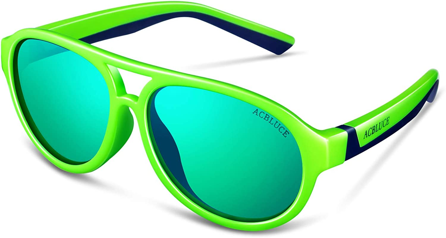 ACBLUCE Kids Polarized Sports Sunglasses TPEE Frame with Adjustable Strap for Boys Girls Age 6-12