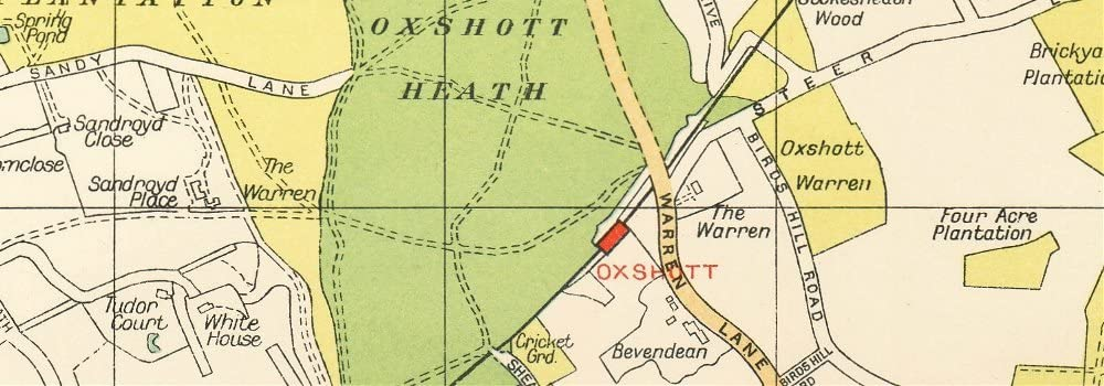 Stoke D/'Abernon Cobham Fairmile Claygate OXSHOTT ESHER Surrey 1933 old map