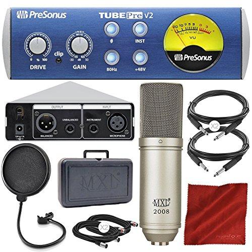 PreSonus TubePre v2 Tube Preamplifier/DI Box with Condenser Microphone and Deluxe Accessory Bundle