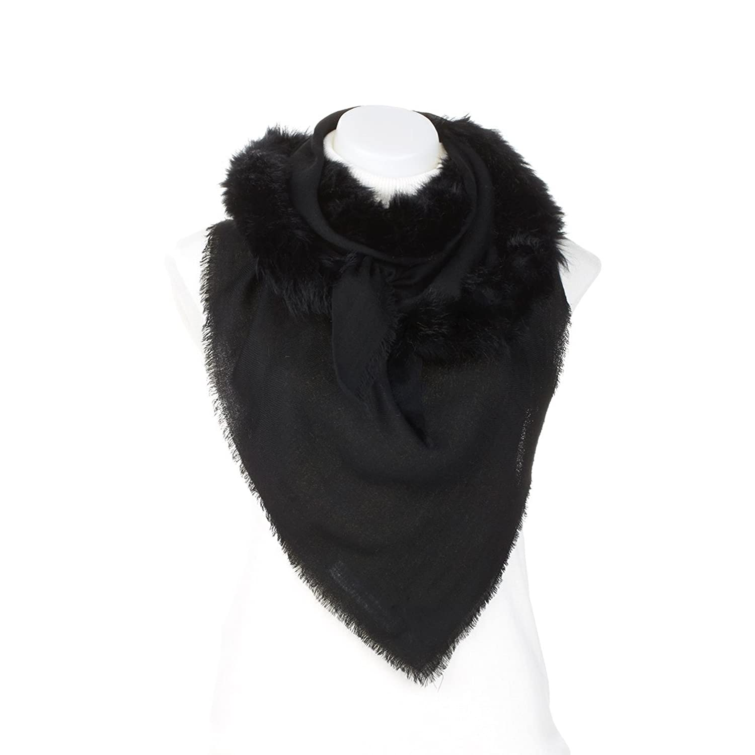 Clever Carriage Aspen Rabbit Fur Trimmed Scarf