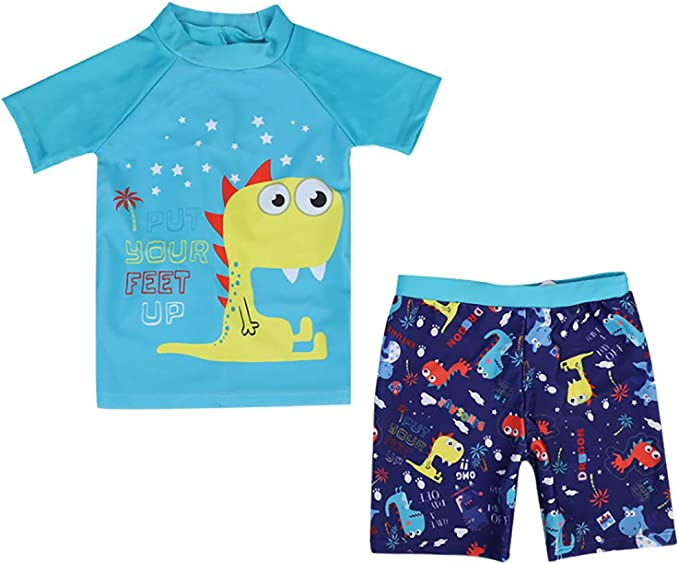 Kids Boys Dinosaur Short Sleeve Rashguard Tops Board Swim Shorts Trunk with Swim Cap Sets