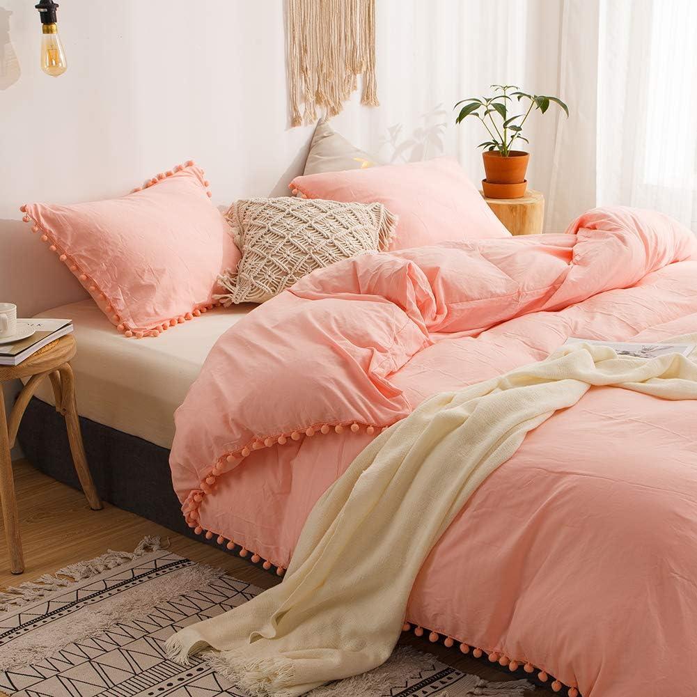 MOVE OVER 3 Pieces Pink Bedding Pink/Peach Duvet Cover Set Ball Fringe Pattern Design Soft Light Pink Girls Bedding Sets Queen 1 Duvet Cover 2 Ball Lace Pillow Shams (Queen, Pink/Peach)