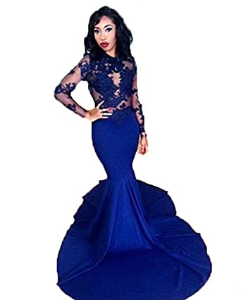 Amazon.com: TF Dress Long Sleeve Prom Dresses 2017 African Mermaid ...