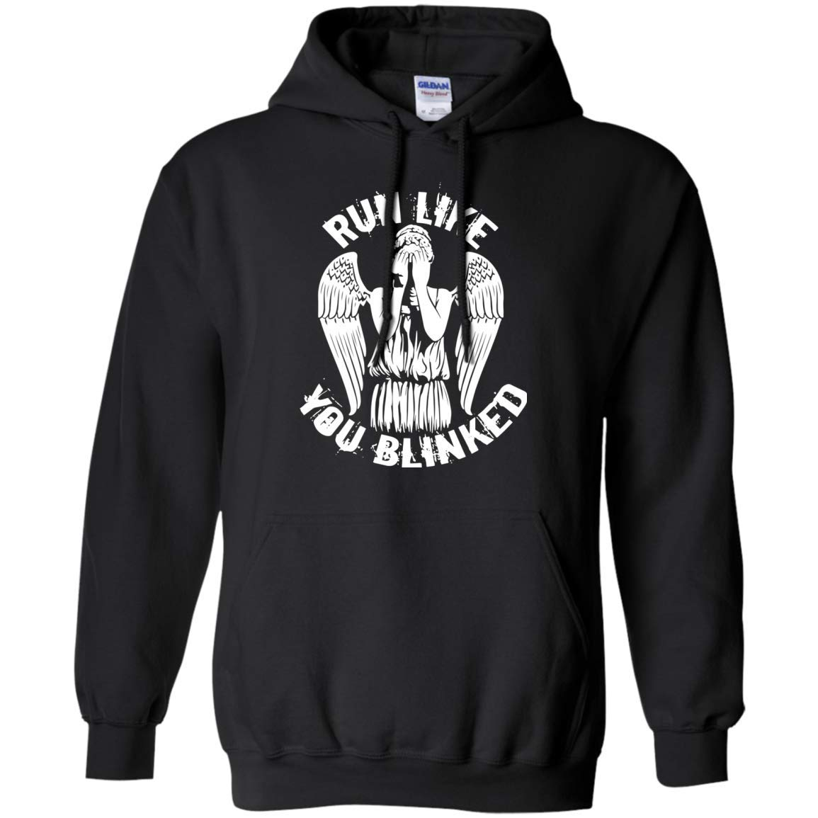 Funny Dr. Who Pullover Hoodie -Run Like You Blink Doctor Who T-Shirt Mens Womens Youth