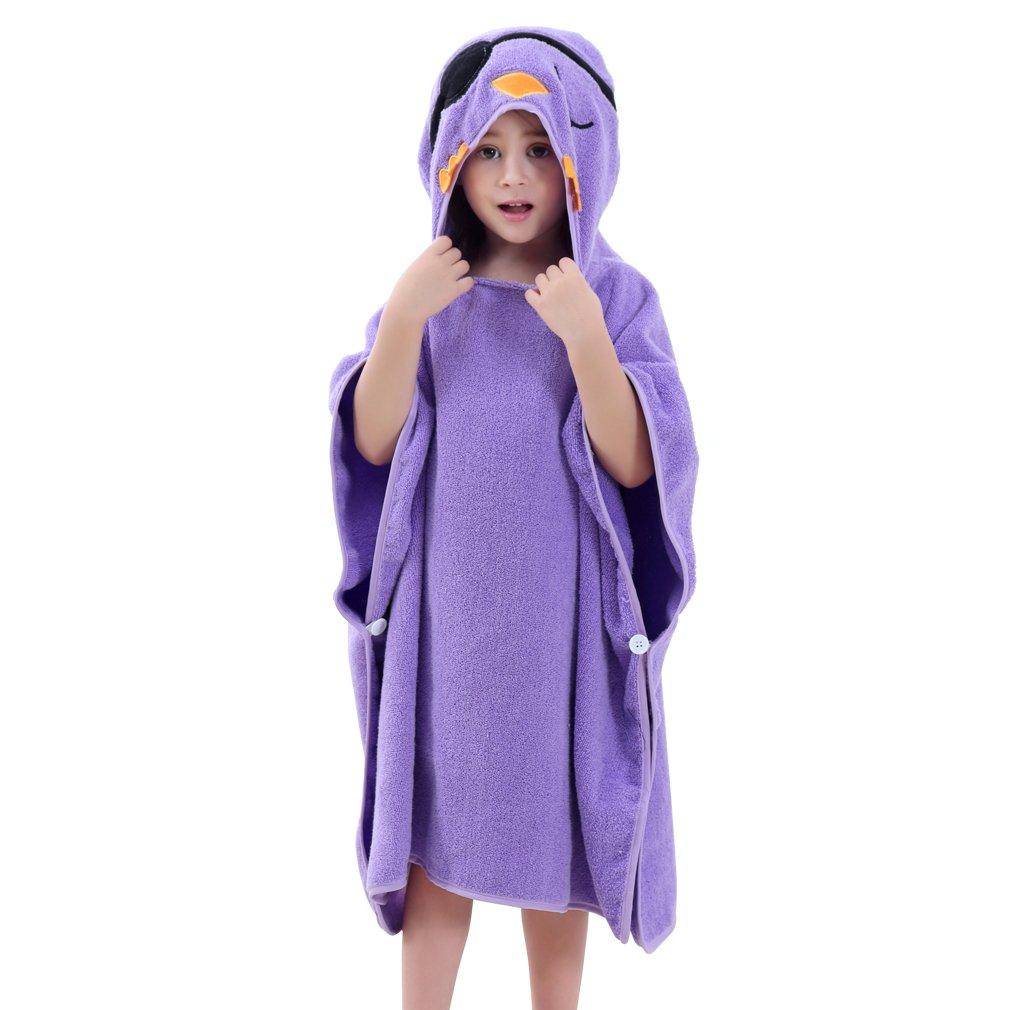 MICHLEY Baby Hooded Poncho Towel, Kids Beach Bath Robe with Hood, 2-6T Grey