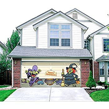 halloween witch escape outdoor halloween holiday garage door dcor