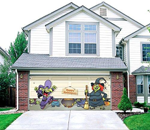 Halloween Witch Escape - Outdoor Halloween Holiday Garage Door Décor 7'x16' (Halloween Decorations Garage Door)