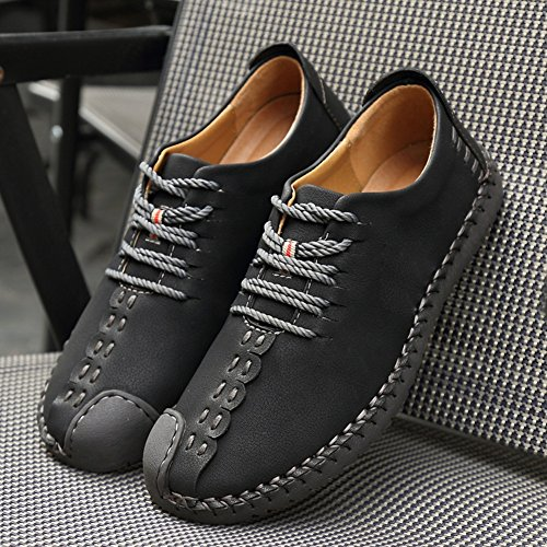 Men's Casual Oxfords Shoes Dress Loafers Lace up Shoes Handmade Retro British Style Business Flat Loafers Driving Shoes Black fgkXTevaP