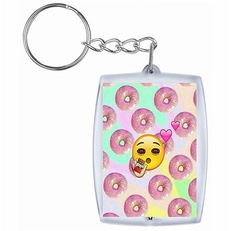 Druckerlebnis24 Llavero Donut Emoji con Ojos Grandes y ...