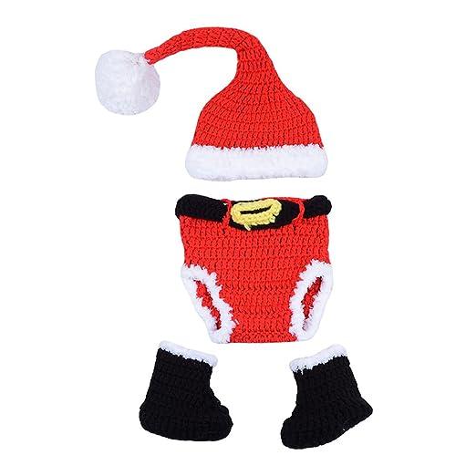 fbe0bdfae42 Amazon.com  CX-Queen Newborn Baby Photography Prop Crochet Christmas Hat  Pants Boots Set  Clothing