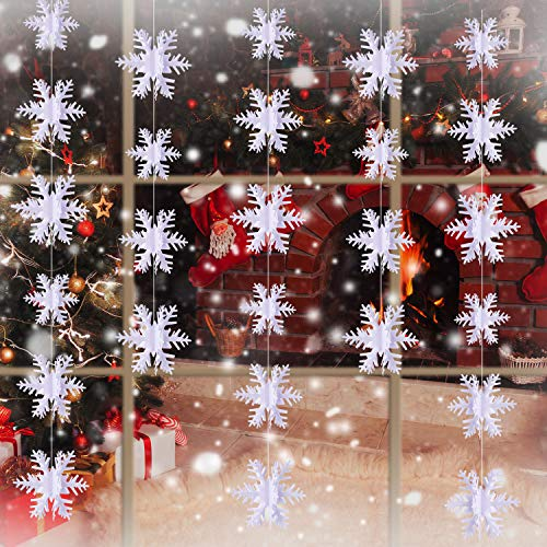 BBTO 3D Snowflake Hanging Garland Snowflake Ornaments for Home Winter Christmas Holiday Decoration White (49.20 - Paper Snowflake Ornaments