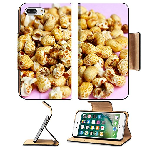 MSD Premium Apple iPhone 7 Plus Flip Pu Leather Wallet Case IMAGE ID 20222247 popcorn on a pink background