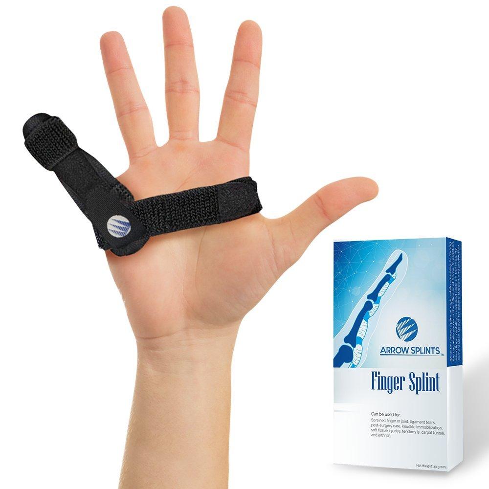 Trigger Finger Splint - Mallet Finger Brace w/Built-in Aluminum Support for Arthritis Pain Relief, Broken - Fractured Finger Cast, Knuckle Brace. Both Velcro-straps are Removable for Desired Fit