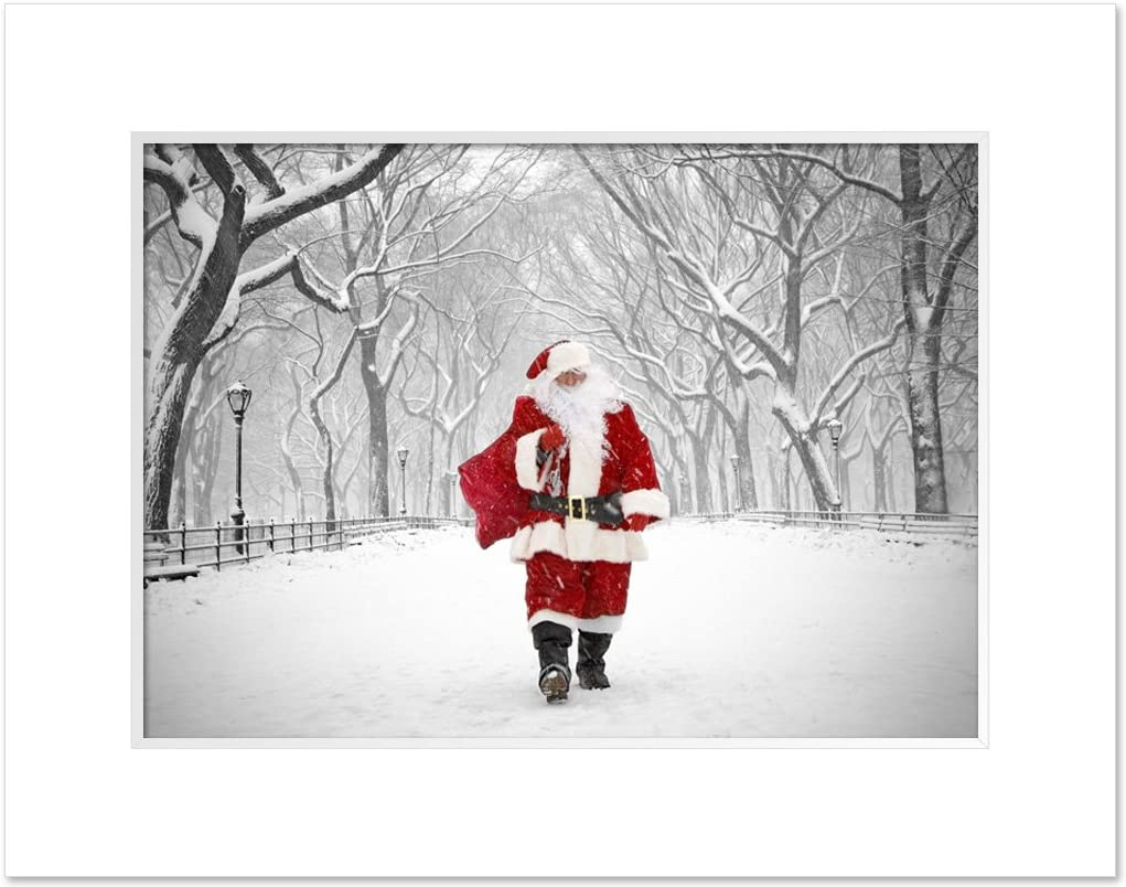 Santa on Poet Walk in Central Park, New York - 11 x 14 Inch Art Giclee Photo Print Matted