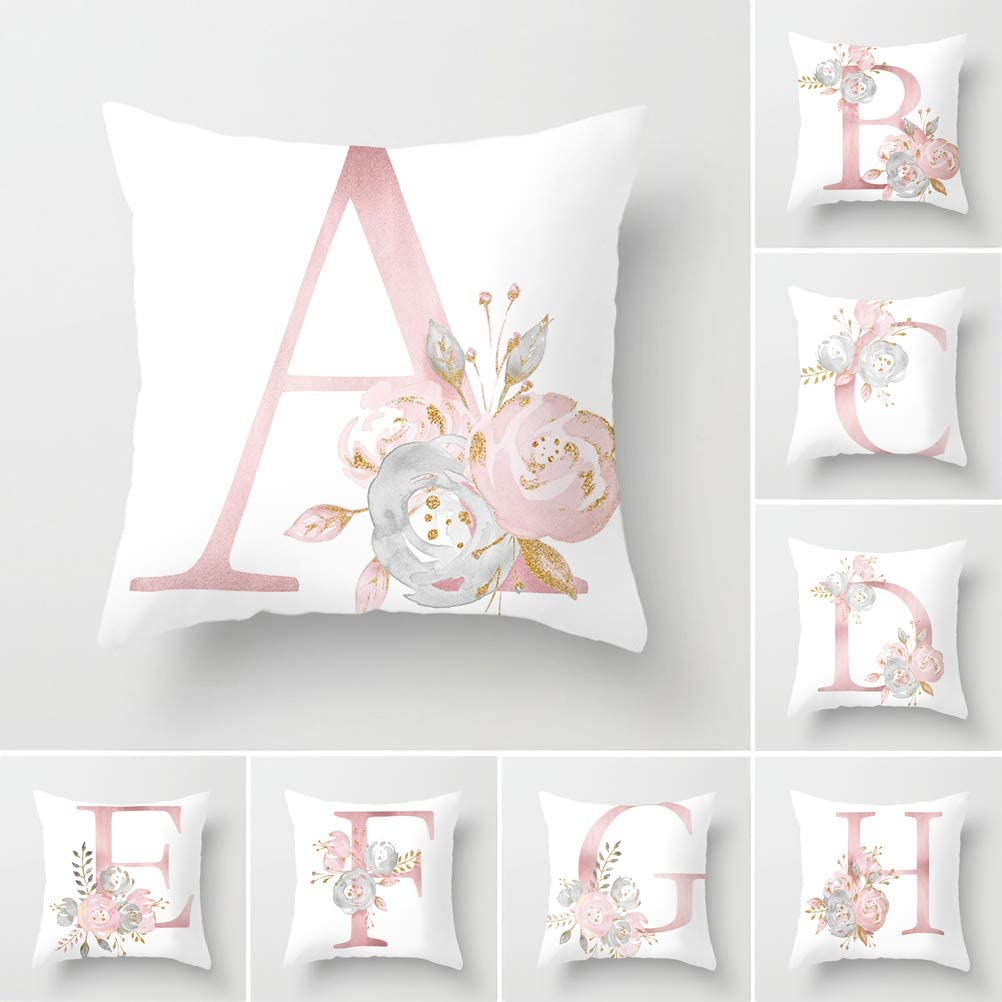 Tillskuch Throw Pillow Covers 26 Decorative English Letters Floral Pillowcases Velvet Soft Cushion Cover White Pillow Protectors for Sofa Bedding Car and Home Decor (18x18 / 45x45cm, Letter A)