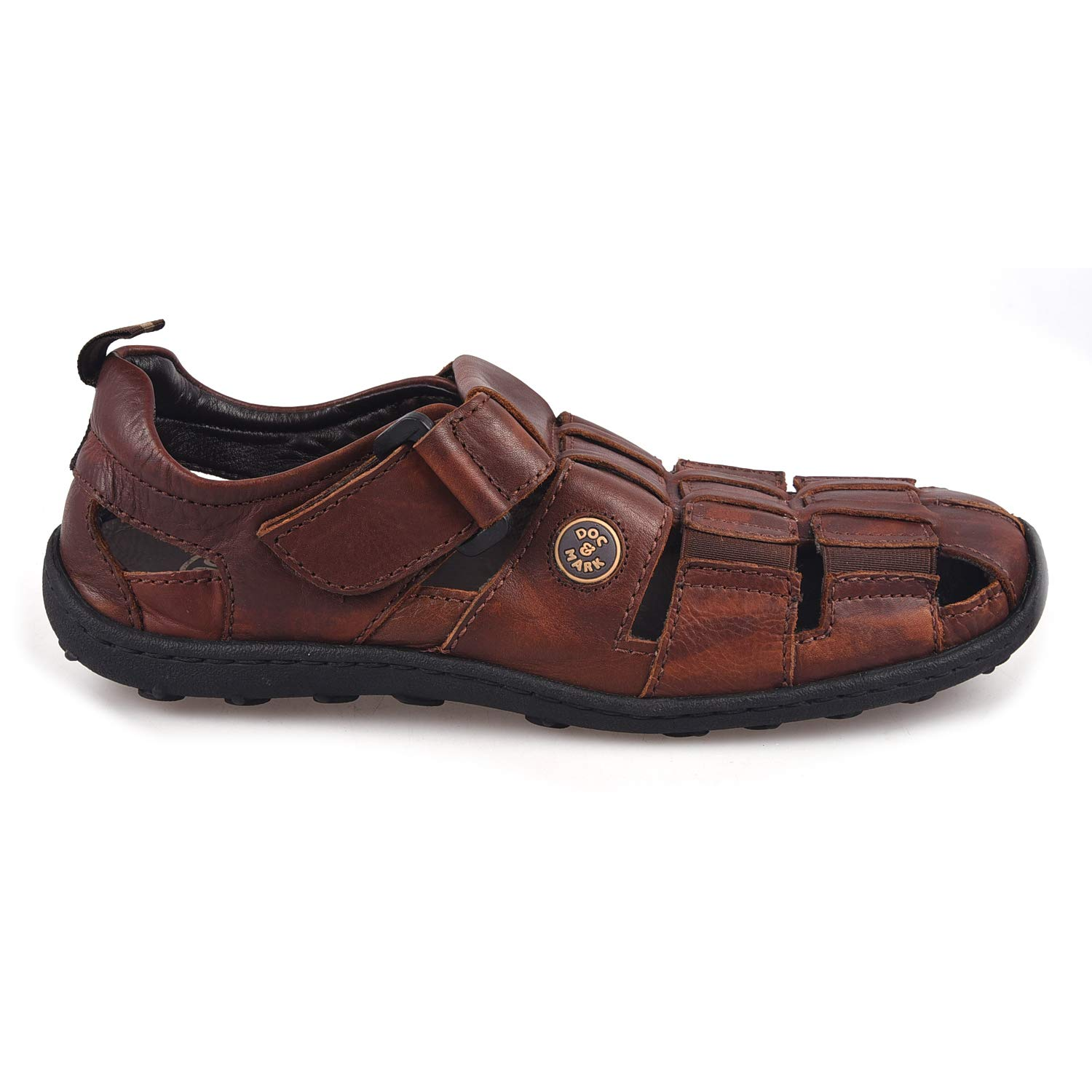 cec38ad7c37b DOC   MARK Brown Leather Velcro Sandals for Men  Buy Online at Low Prices  in India - Amazon.in