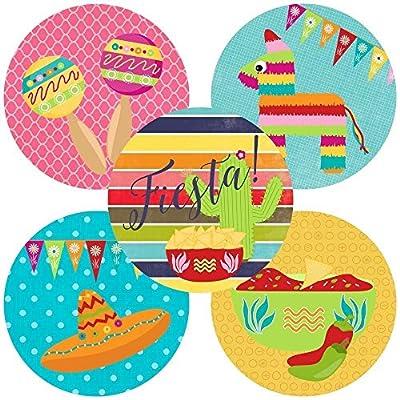 Fiesta Party Sticker Labels - Set of 50