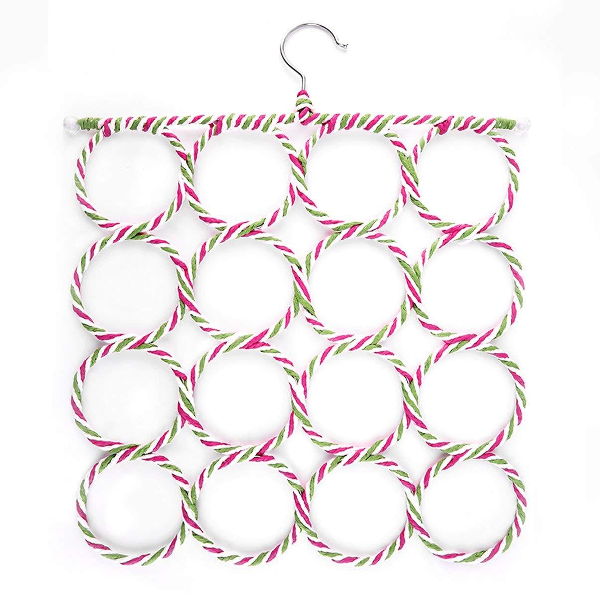 /Économie pratique /écharpe ch/âle foulard cravate ceinture cintres titulaire organisateur stockage 16 anneau corde fentes cintres