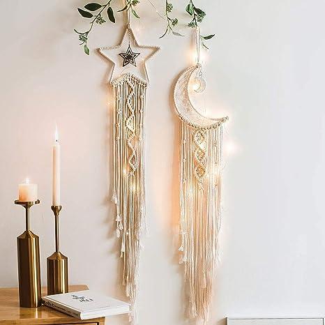 Bohemian Chic Wall Hanging Tapestry Mandala Moon Dreamcatcher Woven Knitte/_ES