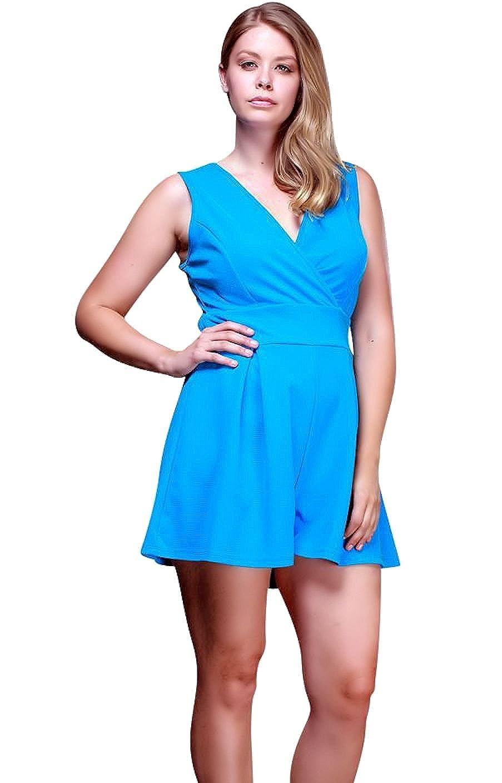 86c447a7c17 Amazon.com  Nyteez Women s Plus Size Pleated Romper Short Jumpsuit  Clothing