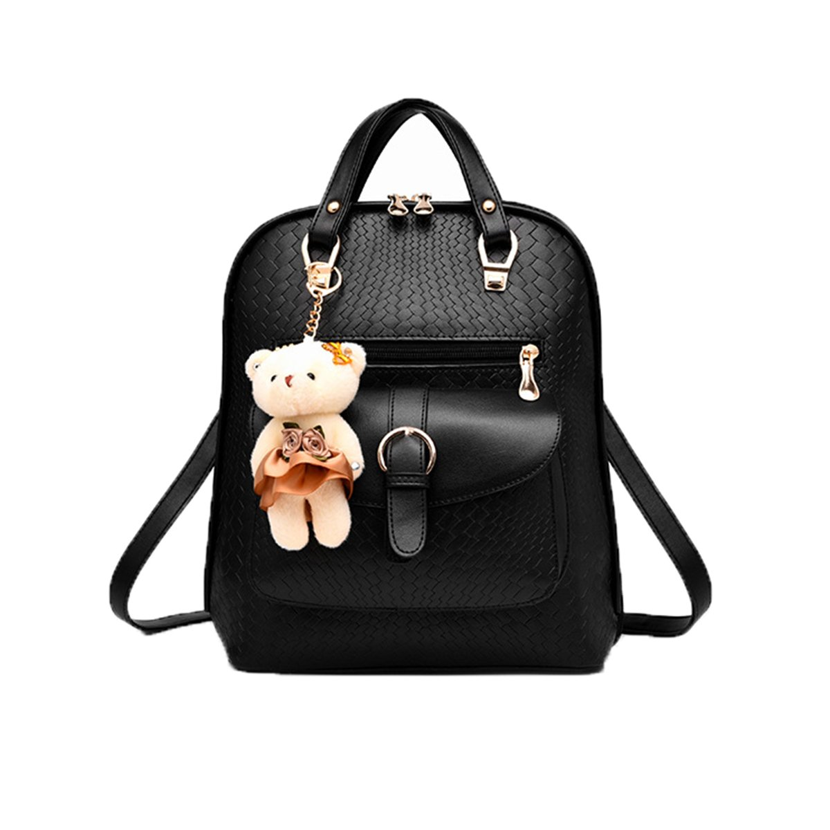 Women Backpack,PU Shoulder Bag, Cute Satchel Knapsack For Teenagers Girls With Bear Key Chain Black