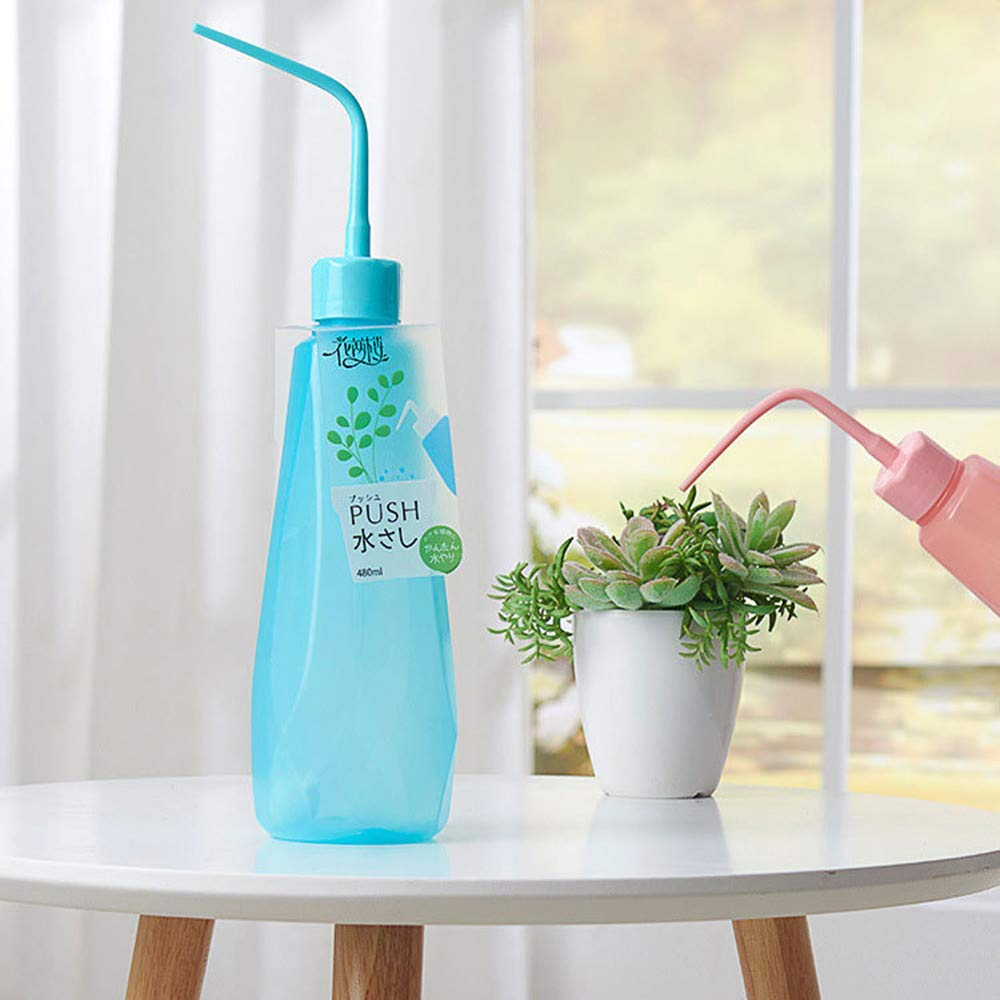 450ml Watering Bottle Plastic Pressing Spray Bend Mouth Watering Cans Squeeze Bottle for Plant Flower Succulent (Blue)
