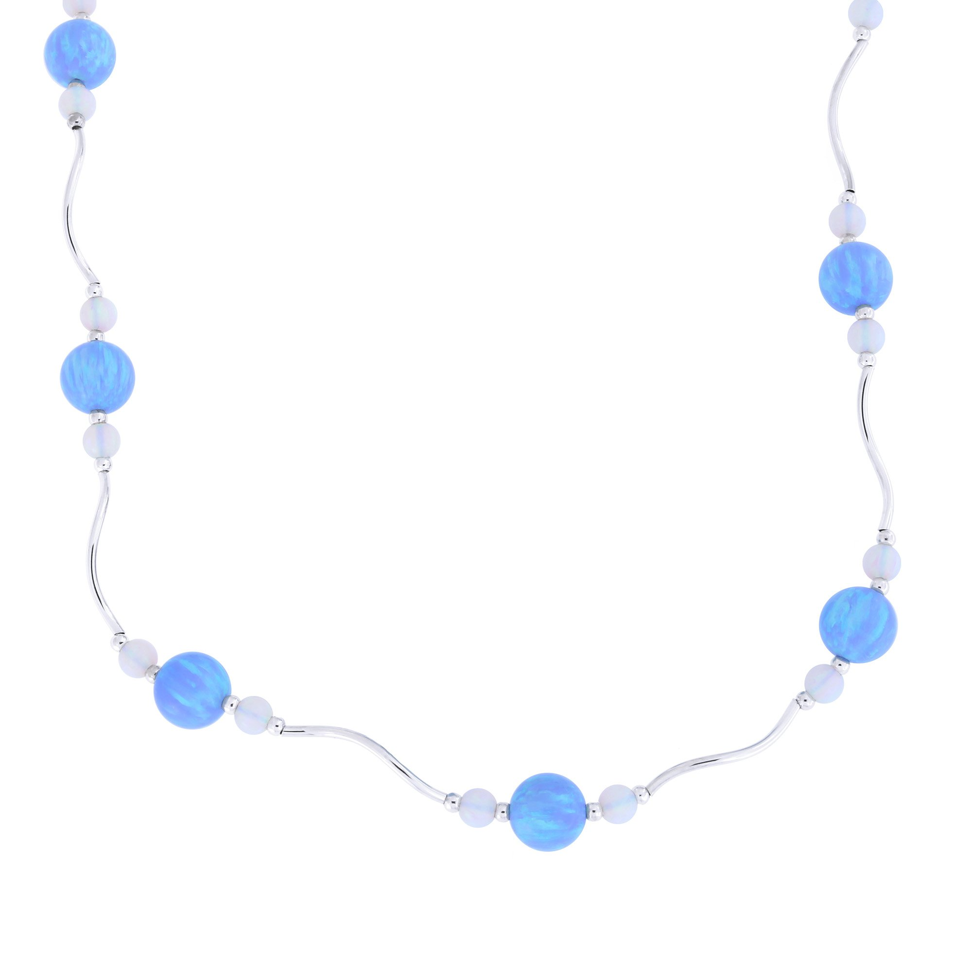 Sterling Silver Rhodium Plated Graduated Simulated Blue and White Opal Station Necklace, 18.5 inches
