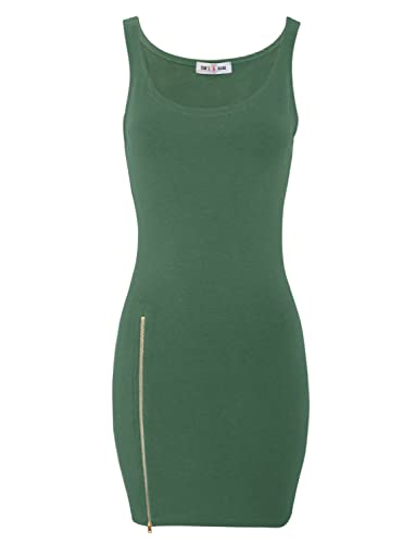 Tom's Ware Women Stylish Side Zip Tank Bodycon Mini Tee Dress