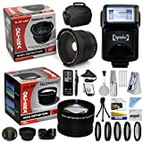 47th Street Photo Best Value Advanced Lens Kit for the Canon EOS REBEL (T5i T4i T3i T2i T1i XT XTi XSi SL1) - Includes: Opteka 0.35x Wide Angle Lens + 2.2x Extreme High Definition AF Telephoto Lens + Professional 5 Piece Filter Kit (UV, CPL, FL, ND4 and 10x Macro Lens) + Super i-TTL Bounce Zoom Flash + Wireless Remote Control + Collapsible Lens Hood + Flower Lens Hood + Snap On Lens Cap + Sensor C