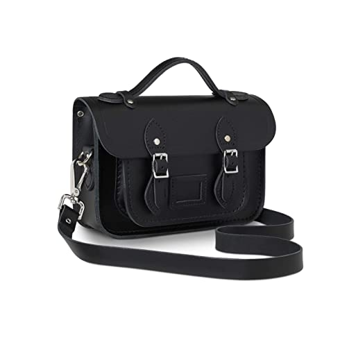 8acd048ba15a The Cambridge Satchel Company - Mini 8.5 quot  Satchel Magnetic Branded  Nickle Leather Bag (Black