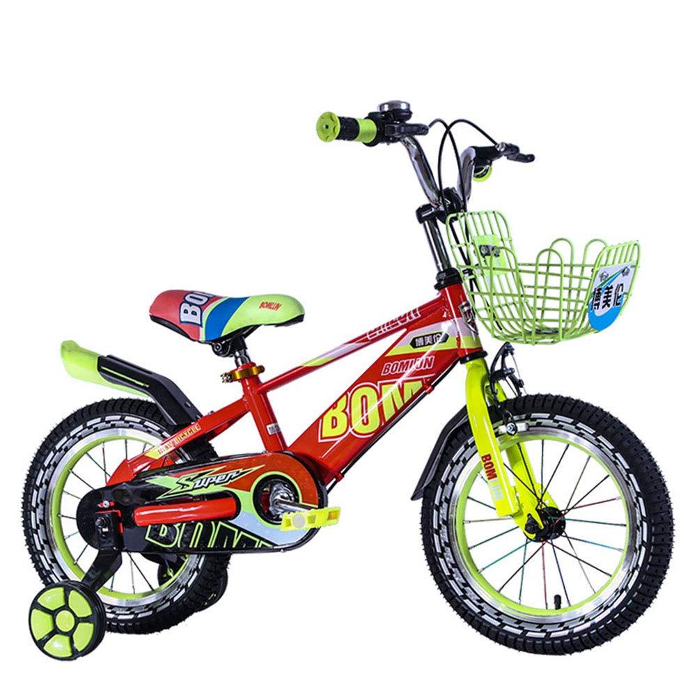 Bici Bambini Bicicletta Altezza Regolabile Bicicletta di Montagna Doppio Freno Ragazzo Ragazza Sicurezza Damping 16 Pollici 2-10 Anni,Red