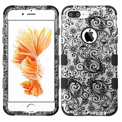 Insten Tuff Four-Leaf Clover Dual Layer [Shock Absorbing] Protection Hybrid Rubberized Hard PC/Silicone Case Cover Compatible with Apple iPhone 7 Plus, Black