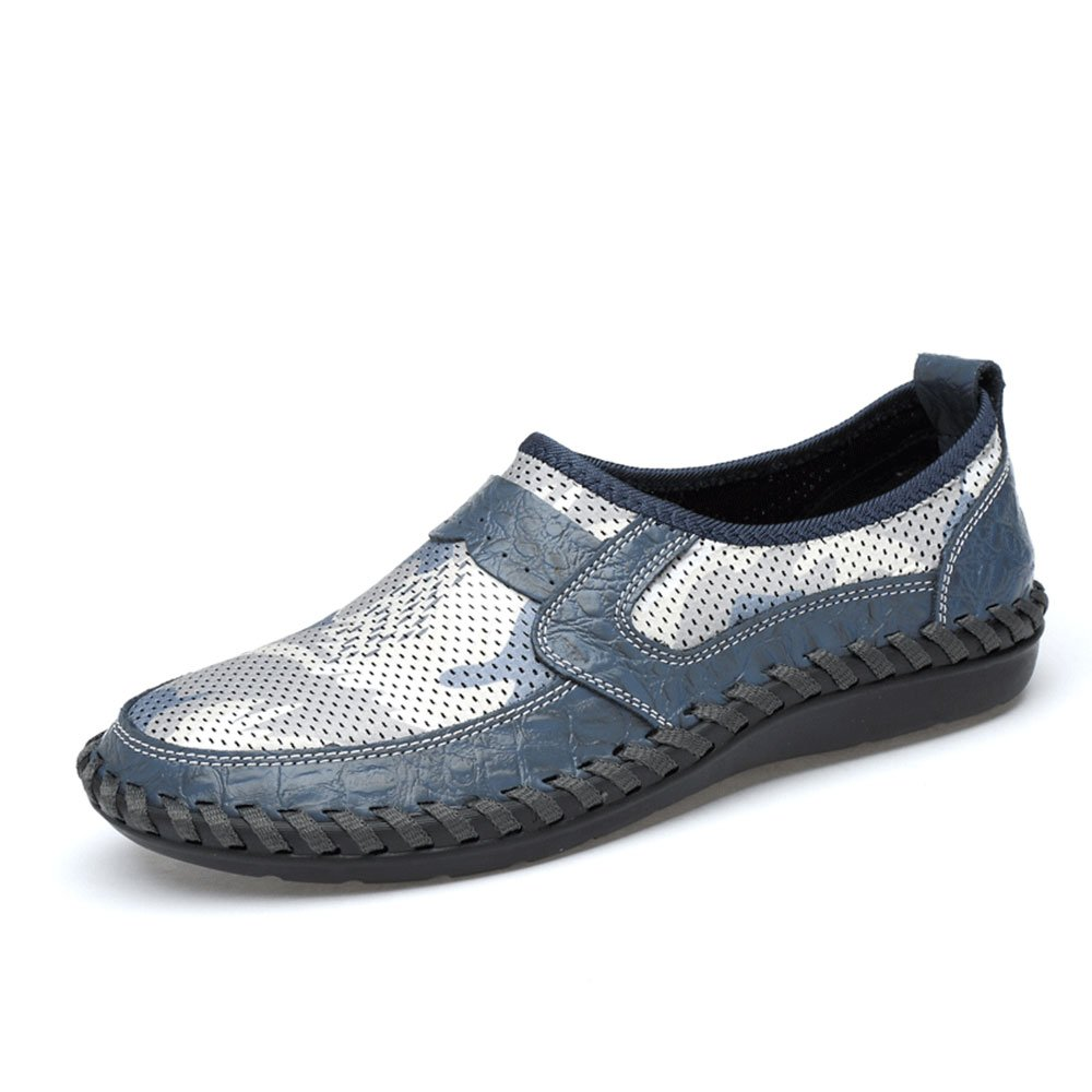 UPIShi Mesh Breathable Men Flats Casual Driving Moccasin Leather Loafers Lightweight Stitching Shoes Blue 44