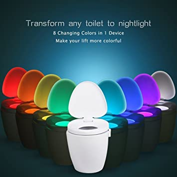 MEMTEQ Sensor de movimiento LED inodoro luz, plástico abs, Blanco ...