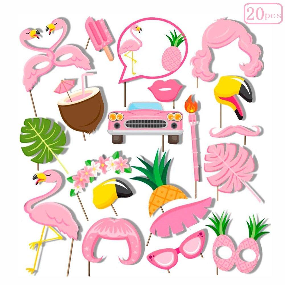 Sakolla 20Pcs Flamingo Luau Hawaii Photo Booth Props Summer Party Decoration Supplies